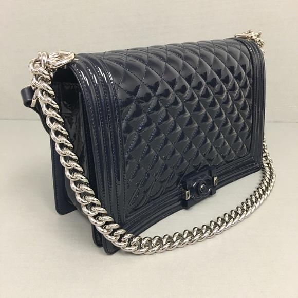 2933e9d5b57d CHANEL Bags | Boy New Medium Shiny Leather Bag | Poshmark