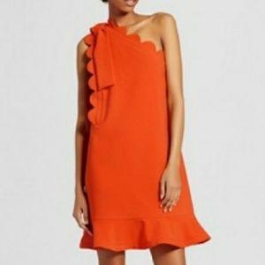 Victoria Beckham 1Shoulder Dress bow/scallop trim