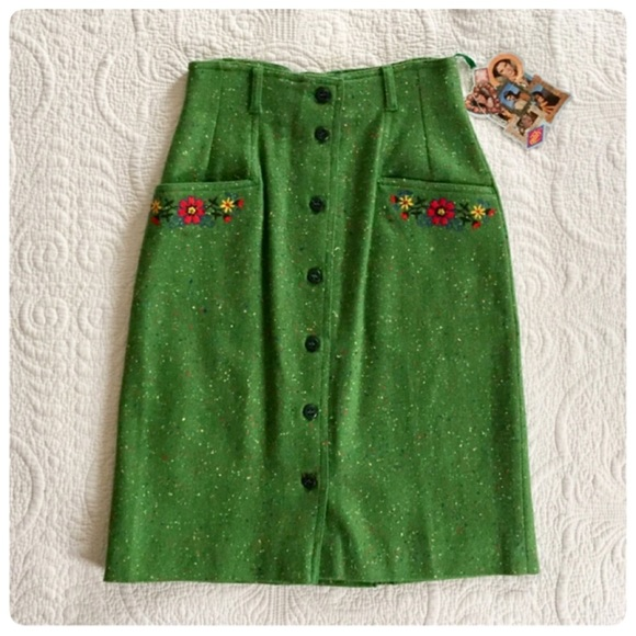 Vintage Dresses & Skirts - NWT Vintage 60's Oilily green wool skirt, Sz XS