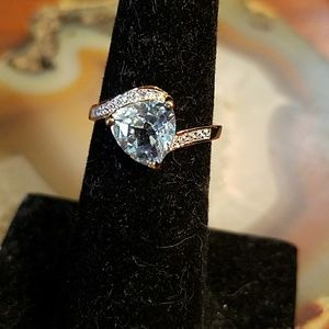 Jewelry - Gold over 925 SS Sky blue topaz ring, size 6