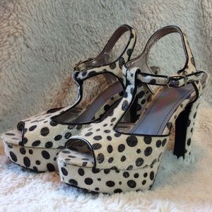 Pink and Pepper Dalmatian Print T-Strap Heels