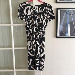 DVF black and white print dress