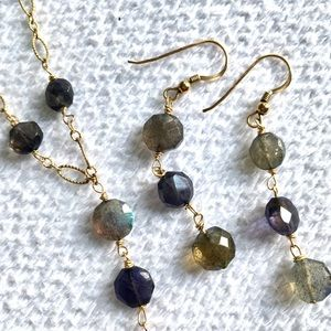 Labradorite Gray Stone Gold Necklace Earrings Set