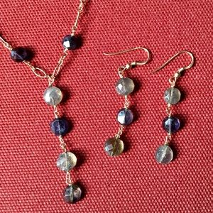 Handmade Jewelry - Labradorite Gray Stone Gold Necklace Earrings Set