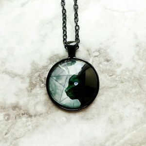 Jewelry - Pentacle Wiccan Black Cat Glass Cabochon Necklace