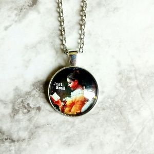 Jewelry - Just Read Glass Cabochon Necklace
