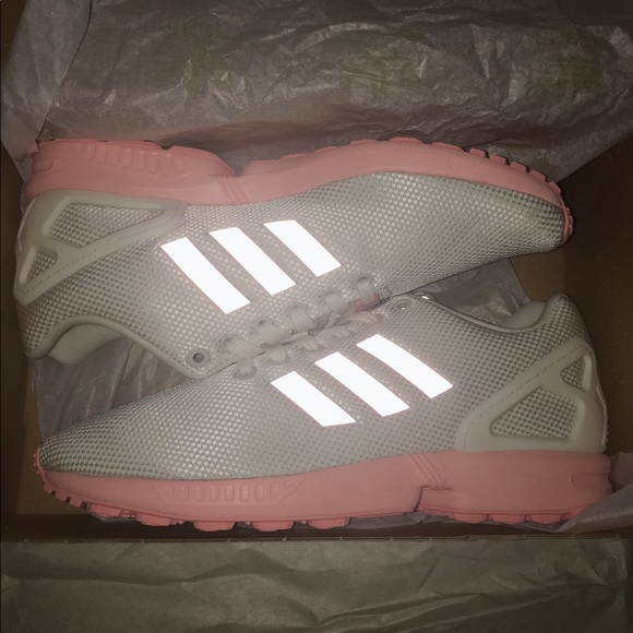 ADIDAS ZX FLUX WHITE REFLECTIVE PINK SHOES BA7642 NWT