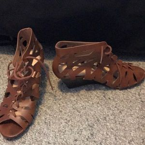 Brown Lace Up Wedges