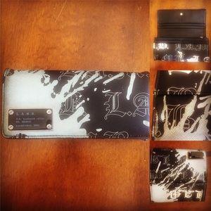LAMB black and grey paint splash wallet!   L.A.M.B