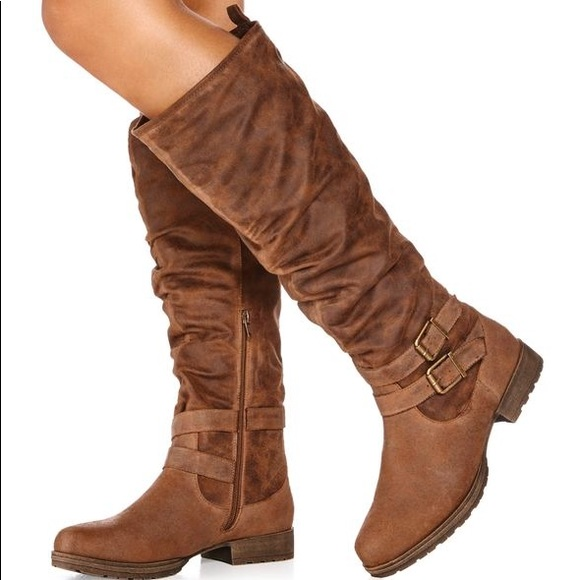 08885199ed JustFab Shoes   New Domina Brown Buckle Slouch Boot 8w   Poshmark