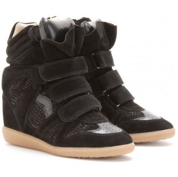 a9e738fabbcd Isabel Marant Shoes - Isabel Marant Bazil Suede And Snake-effect Sneaker
