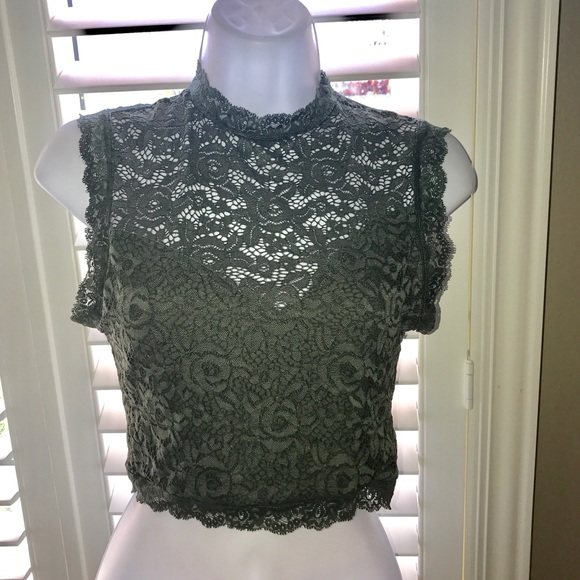 28271c240efe0 Bebe Olive green LACE SLEEVELESS CROP TOP NWT Xs