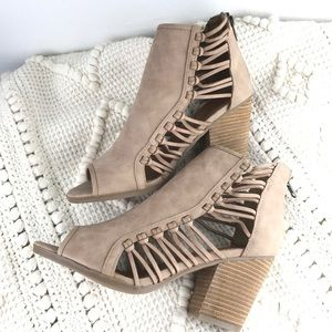 New Rampage tan cut out peep toe heel ankle boots