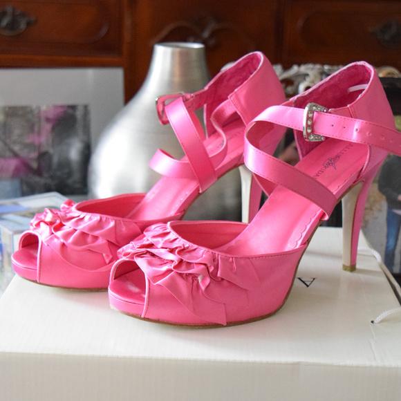 Allure Bridals Bright Pink Ruffled Heel 8009e0ff7
