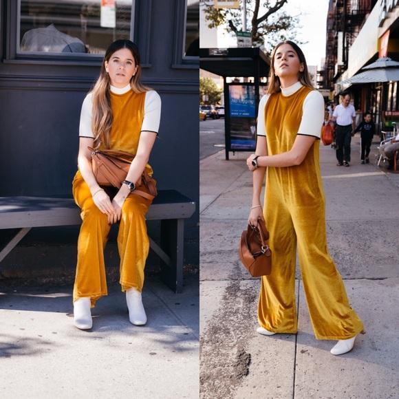 d00c9023 Zara yellow mustard velvet jumpsuit NWT