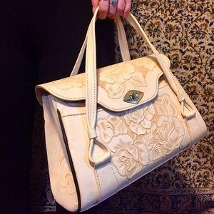 Handbags - Vintage hand tooled cream purse