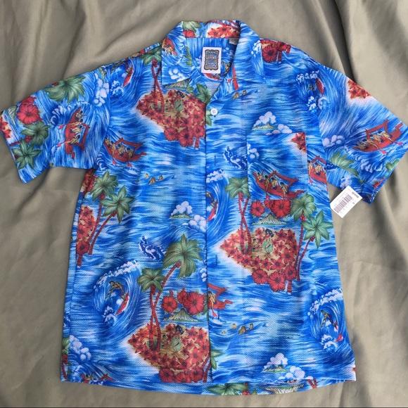 87ccfcd296c35 Ocean Current Mesh Hawaiian Shirt Men s Small NWT