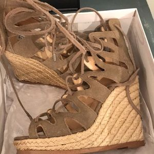 Steve Madden wedges taupe suede