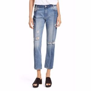 NWT Free People The Patchwork High Waist Crop Jean