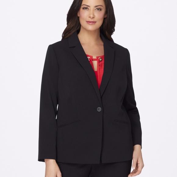 126476277e7 Tahari ASL Plus Size One-Button Blazer Black
