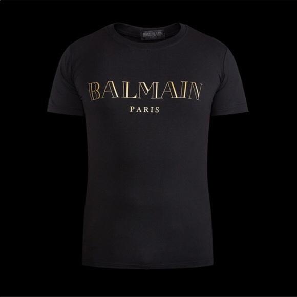 24060f7ee8e Balmain Tops   X Hm Paris Black Gold T Shirt Top Xs   Poshmark