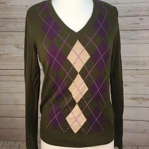 Argyle Sweater Izod Women's Medium Cotton