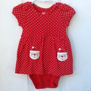 🍼 GIRLS Carter's Santa Polka Dot 9 Month