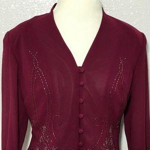 Emma James wine colored embellished blazer size 12