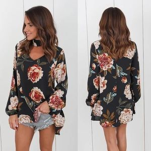 Tops - Black floral top