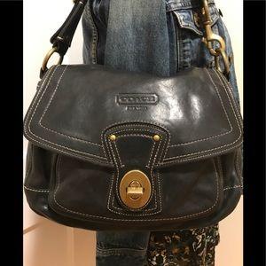 Handbags - Coach Black Leather Ali Signature C Legacy  Purse