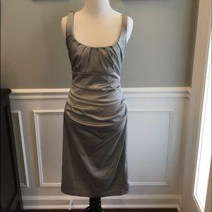 Silver satin ruched Suzi Chin dress size 4 EUC