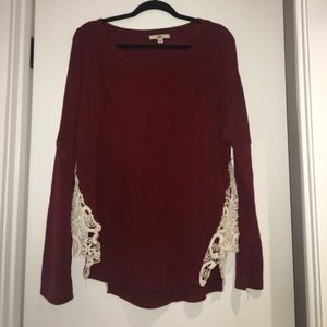 Ya Los Angeles Burgundy Sweater With Lace Sides