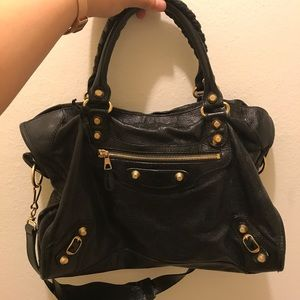 2012 Balenciaga Black Arena Giant 12 City Bag
