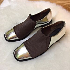 Marni Brown Calf Hair and Silver Slip on Shoes 38