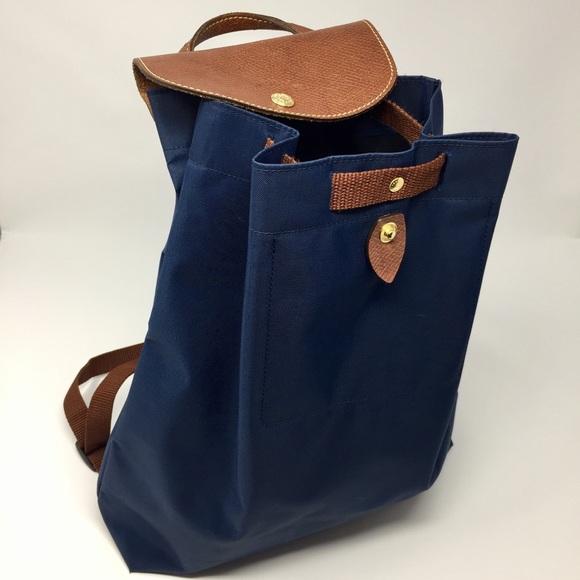 Longchamp Handbags - Longchamp Navy Le Pliage Drawstring Backpack c2f60ea234