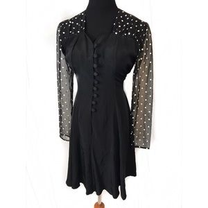 Vintage sheer sleeve polka dot dress