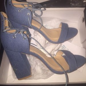 NWT denim embroidered lace up heels size 10