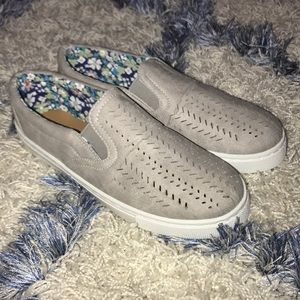 Shoes - Light Gray Perforated Slip-On Sneaker