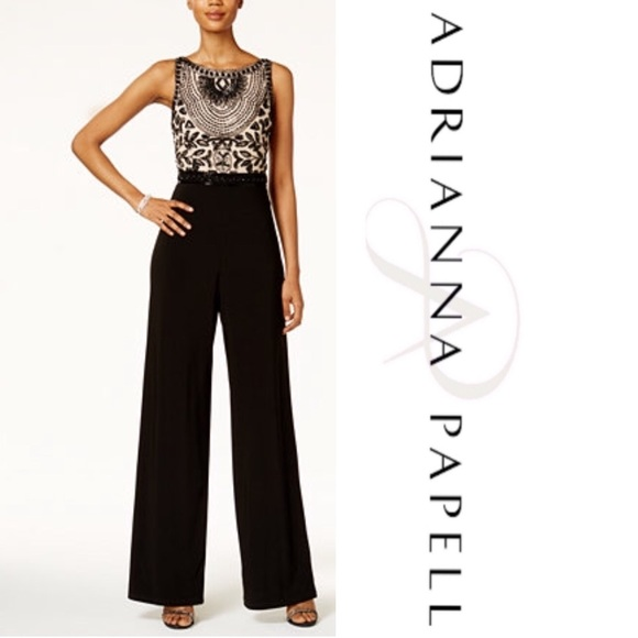 e52d6735005 Adrianna Papell Beaded Halter Jumpsuit. Boutique