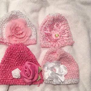 Bundle of 4 fancy baby girl flower embellish hats