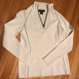 White v-neck zip up sweater Eddie Bauer