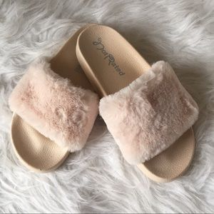 Not Rated Blush Pink Faux Fur Slides
