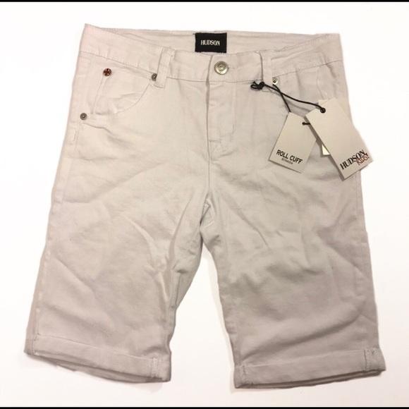 f069dd7b76 [Hudson] White Bermuda Roll Cuff Kid's Jean Shorts NWT