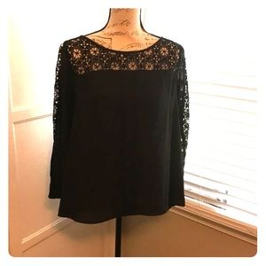 Black rayon blouse lace panels