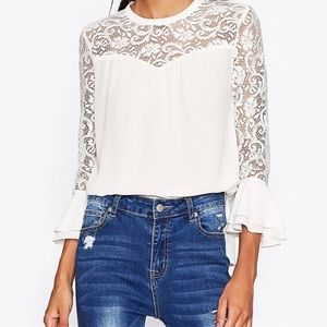 Tops - ✨White Chiffon Lacy Flared Bell Sleeved Top✨