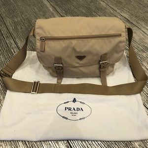Prada Nylon Khaki Messenger Bag