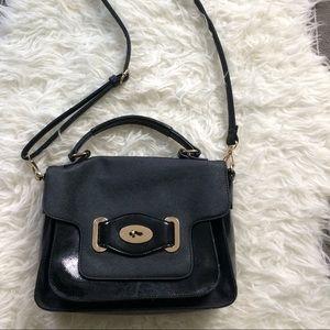 Melie Bianco black structured shoulder bag vegan