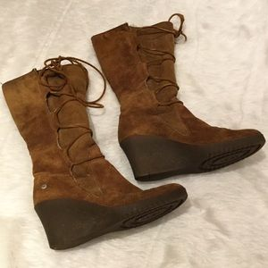 de1947db16c UGG Elsey Lace-Up Wedge Boots