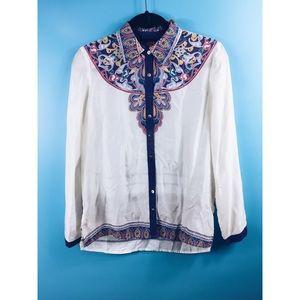 Sundance Button Down Paisley Floral Silk Blouse XS