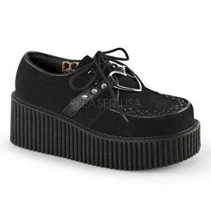 Shoes - Punk Heart Creeper Gothic Shoes Platform Black